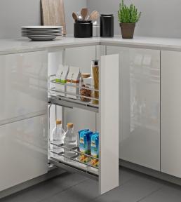 Inoxa Карго, висувна корзина для пляшок та зберігання, 2 рівні, направляючі Grass (повний висув), серія Ellite 5104EY, суцільне біле дно