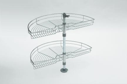 Wireli Обертова кутова система 1/2 кола, карусель 180°, хромована, кріплення до дна та корпусу, серія Komfort