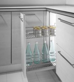 Inoxa Карго, висувна корзина для пляшок та зберігання, 2 рівні, направляючі Salice (частковий висув, перехресне кріплення), серія Quadro 2102SY