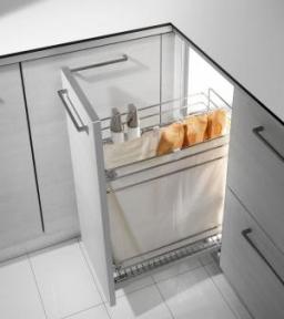 Inoxa висувна корзина-карго, для хліба і пляшок, направляючі Salice (частковий висув) 2105SY