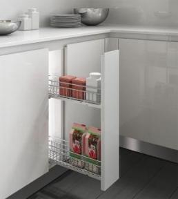 Inoxa Карго, висувна корзина для пляшок та зберігання, 2 рівні, направляючі Blum (частковий висув), серія Quadro 2110SY