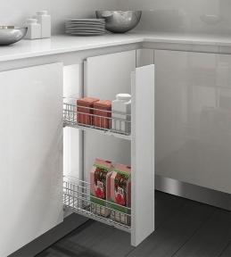 Inoxa Карго, висувна корзина для пляшок та зберігання, 2 рівні, направляючі Blum (частковий висув), серія Quadro 2110SYA