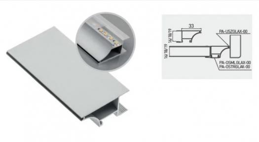 GTV Профіль Glax PA-GLAXWN-AL, торцевий для плити ДСП 18 мм, алюміній (комплект з дифузором і ущільнювачем)