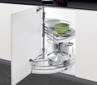 Wireli Обертова кутова система 1/2 кола, карусель 180°, суцільне біле дно, кріплення до дна та верху тумби, серія Elegance