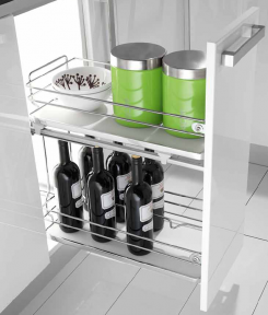 Inoxa Карго, висувна корзина для пляшок та зберігання, 2 рівні, направляючі Hettich (повний висув), серія De Luxe 4102WY, суцільне біле дно