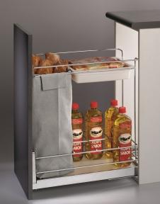 Wireli Висувна корзина-карго для хліба і пляшок, 2 рівня, направляючі Hettich (повний висув), серія Compact