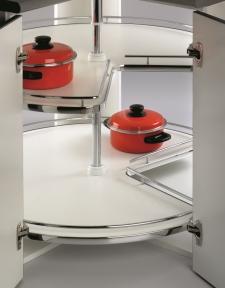 Wireli Поворотна кутова система 3/4 кола, карусель 270°, суцільне біле дно, хром, серія Compact