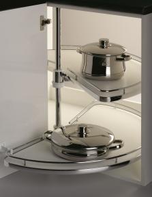 Wireli Обертова кутова система 1/2 кола, карусель 180°, суцільне біле дно, кріплення до дна та верху тумби, серія Compact