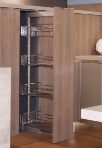 Kessebohmer Висока висувна колона Dispensa, корпус 300мм, висота 1200-1600мм, 4 полиці, повний висув, плавне закривання