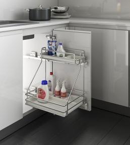 Inoxa Карго для миючих засобів, 2 рівні, направляючі Grass (повний висув), серія Ellite 5107E