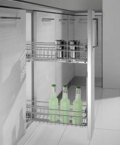 Inoxa Карго, висувна корзина для пляшок та зберігання, 2 рівні, направляючі Salice (частковий висув), серія Quadro 2104SY