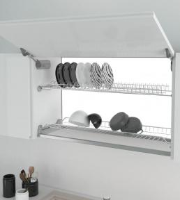 Inoxa сушка для посуду двохрядна, сталь оцинкована, колір сірий, серія 701ZG