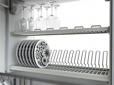 Сушка для посуду двохрядна, покриття хром (Chrom), серія Ellite 716PC (повний комплект)