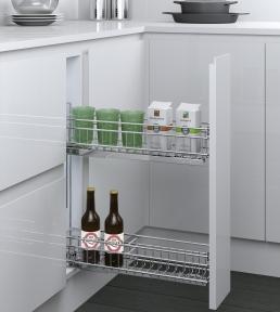 Inoxa Карго, висувна корзина для пляшок та зберігання, 2 рівні, направляючі Blum (повний висув), серія Cromatica 3104YA